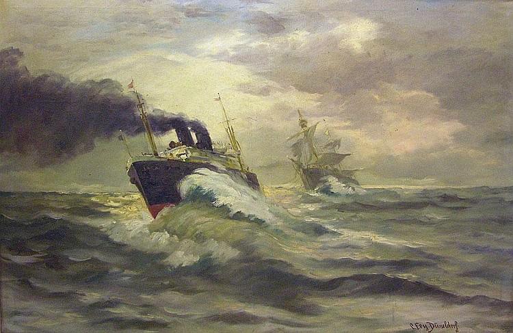 Fey, Carl. 1867-ca. 1930 DüsseldorfSeestück mit zwei Schiffen bei hoher See. Öl auf Leinwand, re. u. sign. 80 x 120 cm. Gerahmt.
