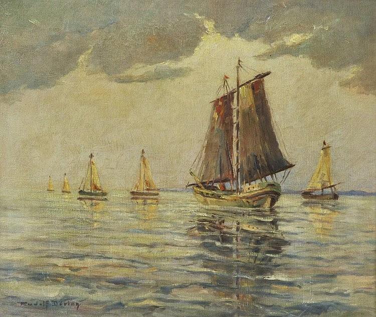 Döring, Rudolf. 1888 Dresden - 1969, war ansässig in Dresden.Seestück mit Segelschiffen. Öl auf Leinwand, li. u. sign., am unt. Bildrand leichte Kratzspuren. 55,5 x 65,8 cm. Gerahmt.