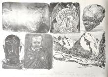 Hubertus Giebe sketch sheet XVII Litho 2008