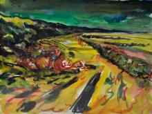 Hubertus Giebe Watercolor Blavand beach 1991