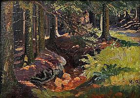 """Quarck, Karl. 1869 Rudolstadt-1950 Dresden""""Sonne im Wald II"""". Öl auf Hartfaser, re. unt. Ecke monogr., verso v. d. Hand des Künstlers betitelt und bez. """"K. Quarck. Dresden"""". 32,5 x 46 cm. Gerahmt."""