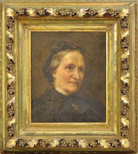Zwintscher, Oskar (?). 1870 Leipzig-1916 DresdenBildnis einer älteren Dame in Witwentracht. 1895. Öl auf Leinwand, re. o. monogr. u. dat. (18)95. 33 x 29,5 cm. Stuckrahmen.
