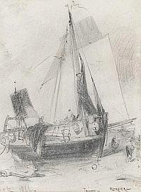 Adolphe HERVIER (Paris 1818 - 1879) Barque au sec