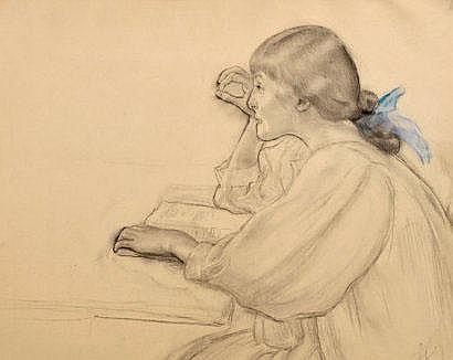 Louis LEGRAND (1863-1951) Jeune fille au noeud