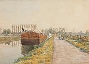 Henri DUHEM (1860-1941) Péniches sur le canal.
