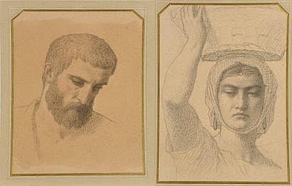 Emile SIGNOL (1804 - 1892) Portrait d'homme barbu