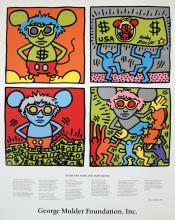 Keith Haring - Keith and Andy and Andy Mouse - 1986