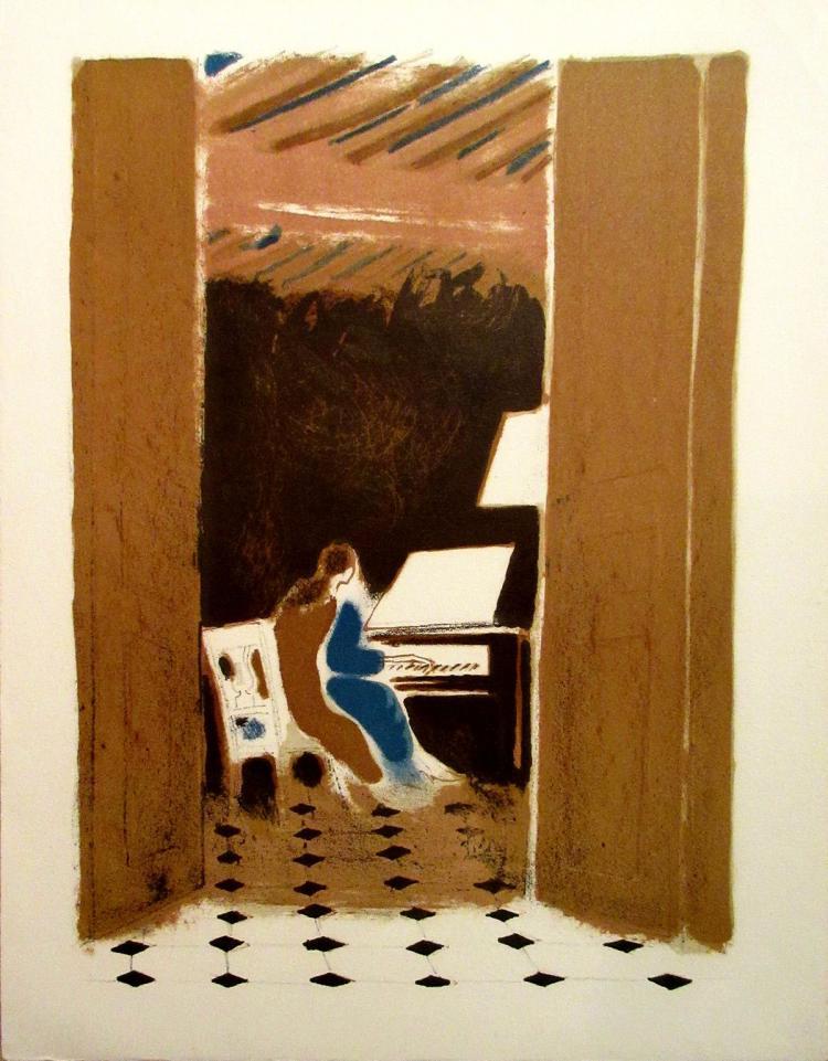 Andre Brasilier - La Femme Au Piano - 1980