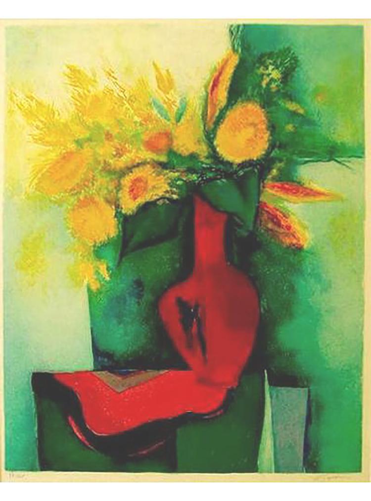 Claude Gaveau - Tapis De Table Rouge Et Fleur Jaune - SIGNED