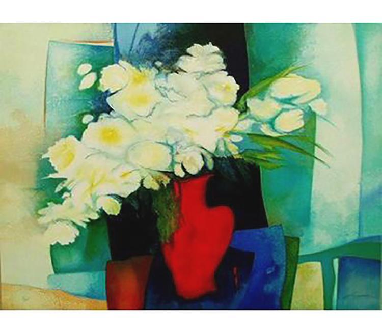 Claude Gaveau - Vase Bleu Aux Fleurs Blanc - SIGNED