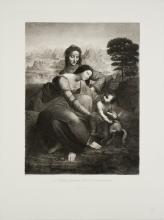 """Leonardo Da Vinci - La Vierge, l'Enfant Jesus et St. Anne - Etching 30"""" x 22.5"""""""
