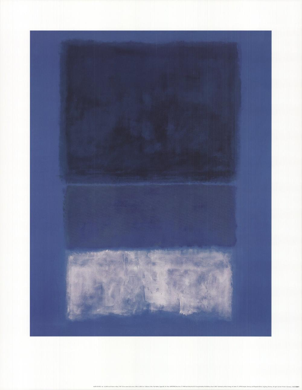 """Mark Rothko - No 14 White and Greens in Blue - 1998 Offset Lithograph 35.5"""" x 27.5"""""""