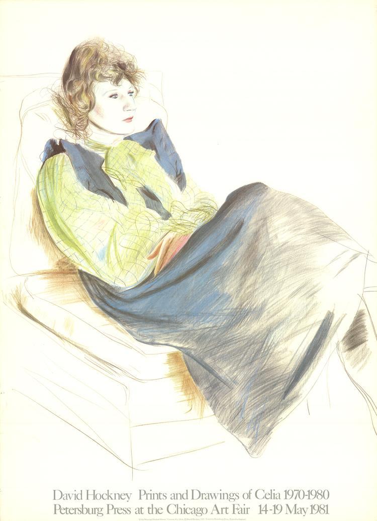 David Hockney - Celia Wearing Checkered Sleeves - 1981
