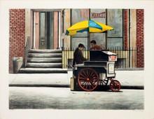 Signed Street Vendor New York City Lithograph