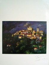 Signed Town on Hill Offset Lithograph