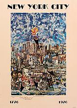 Signed 1976 Calabrese New York City Bicentennial Offset Lithograph