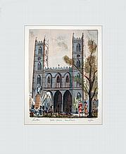Signed Cartier Notre Dame, Montreal Lithograph