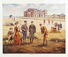 Signed 1998 Dubin St. Andrews Golf Course Offset Lithograph