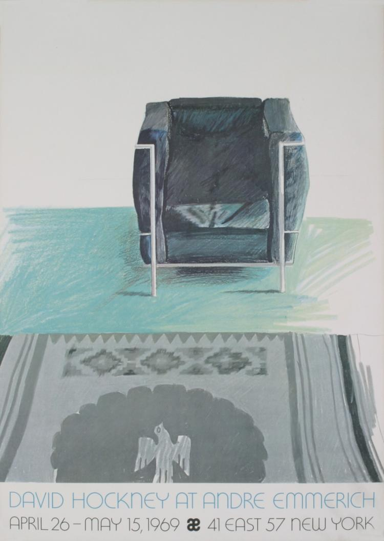David Hockney - Corbusier Chair and Rug (sm) - 1969