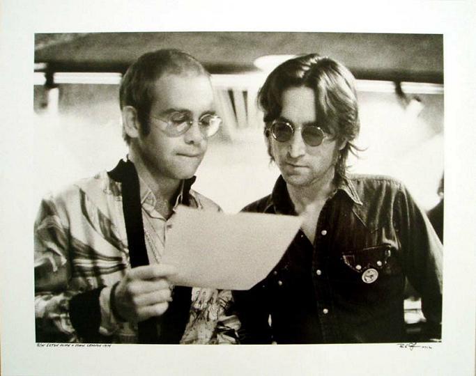 Bob Gruen - Elton John and John Lennon At Record Plant New York - 1972 - SIGNED
