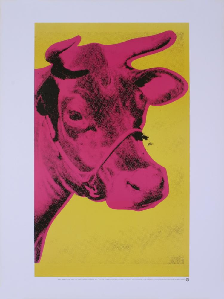 Andy Warhol - Pink Cow on Yellow Background - 1989
