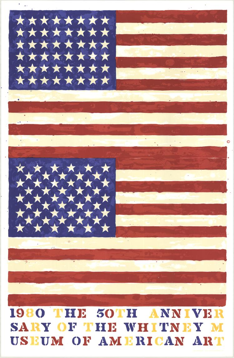 Jasper Johns - The 50th Anniversary of the Whitney Museum of American Art (Double Flag) - 1979