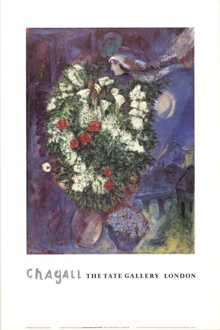 Marc Chagall - Bouquet with Flying Lovers - 1985