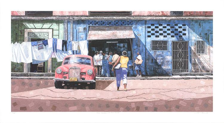 Dwight Baird - Pink Mercedes with Blue Market - 2005 - SIGNED