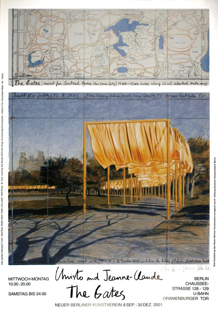 Javacheff Christo - The Gates Project for Central Park New York Collage - 2001 - SIGNED