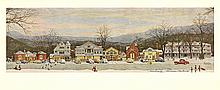 Norman Rockwell - Stockbridge Main Street at Christmas - 1970 - SIGNED