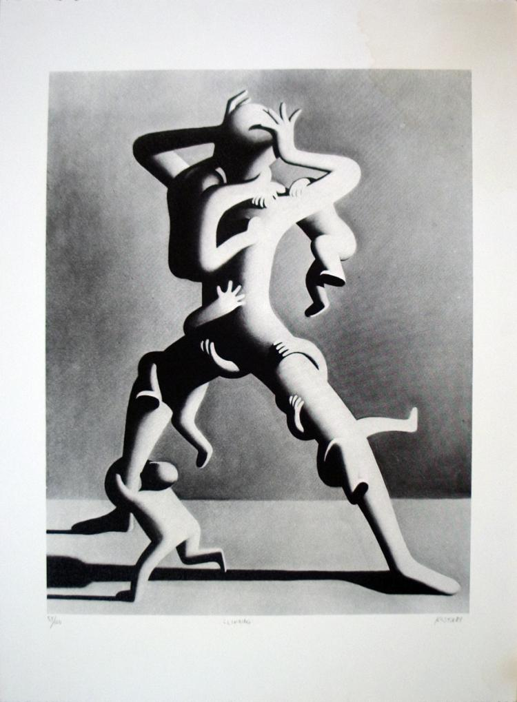 Mark Kostabi - Climbing - 1988 - SIGNED