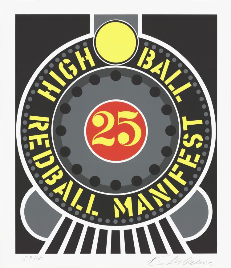 Robert Indiana - Highball on the Redball Manifest - 1997 - SIGNED