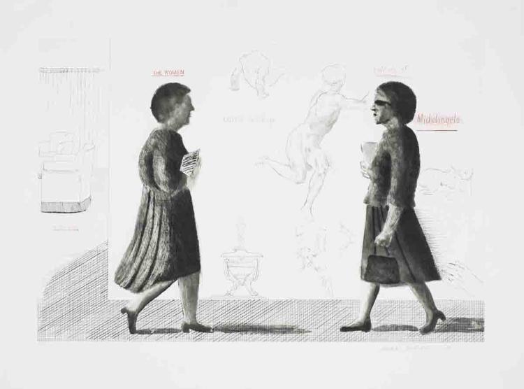 David Hockney - Homage to Michelangelo - 1975 - SIGNED