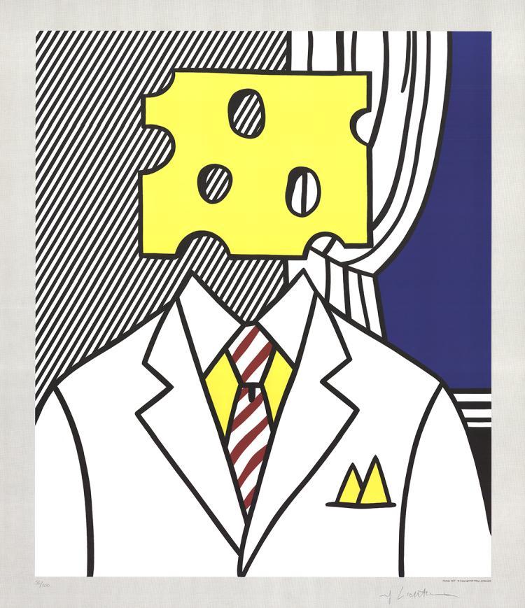 Roy Lichtenstein - Jobs Not Cheese! Moffett for Senator - 1982 - SIGNED