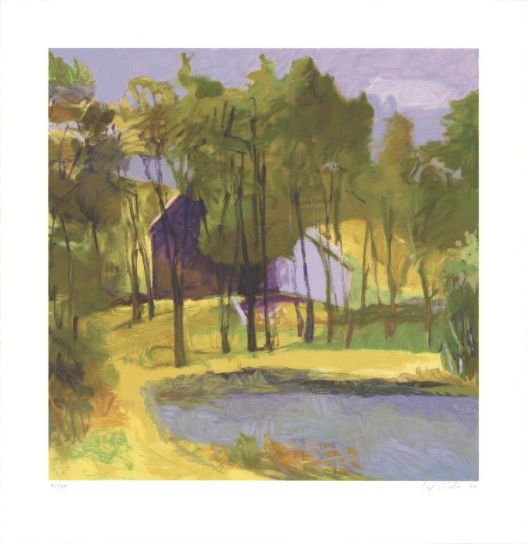 Wolf Kahn - Barn Above Pond - 2002 - SIGNED
