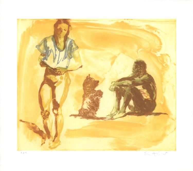 Eric Fischl - Beach Scene with Poodle - SIGNED