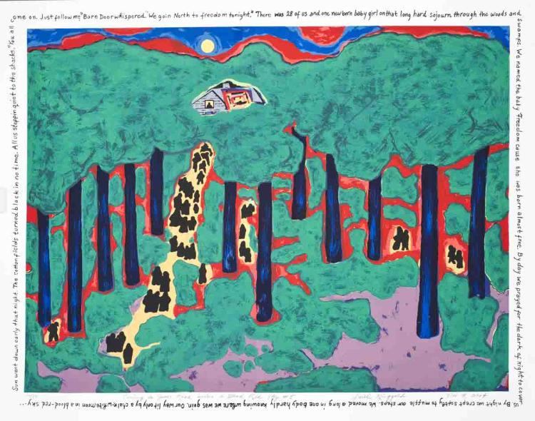 Faith Ringgold - Coming to Jones Road Under a Blood Red Sky #5 - 2004 - SIGNED