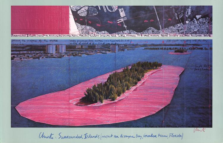 Javacheff Christo - Surrounded Islands, Miami - 1982 - SIGNED