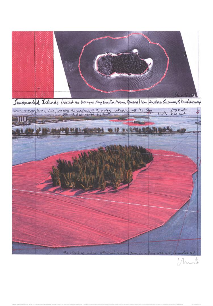 Javacheff Christo - Surrounded Islands, Project for Biscane Bay, Greater Miami, Collage in Two Parts - SIGNED