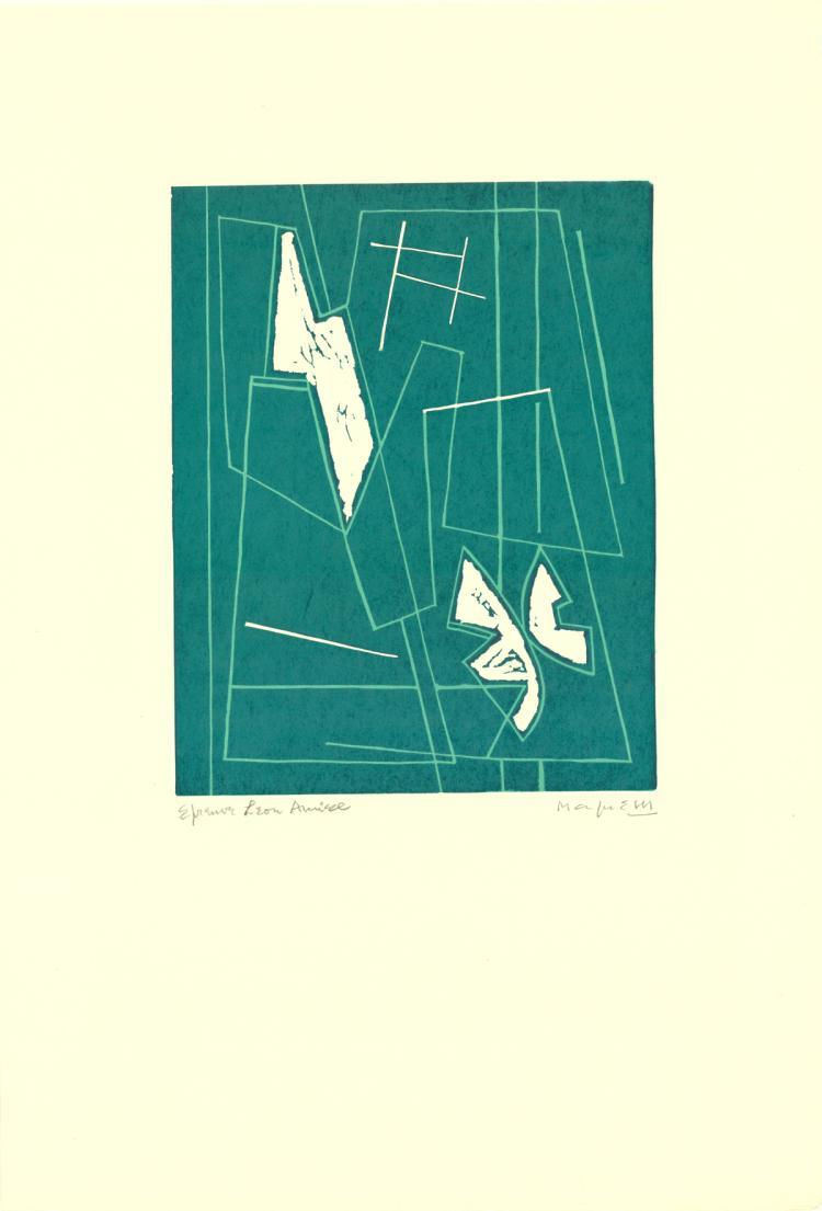 Alberto Magnelli - Untitled III (Fond Vert) - 1970 - SIGNED