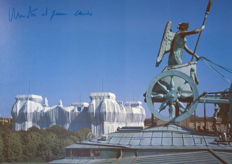 Javacheff Christo - Wrapped Reichstag, View from Roof of Brandenburg Gate - SIGNED
