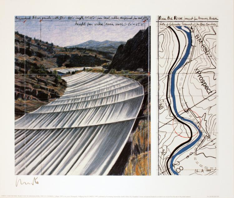 Javacheff Christo - Over the River, project for the Arkansas River - 2005 - SIGNED