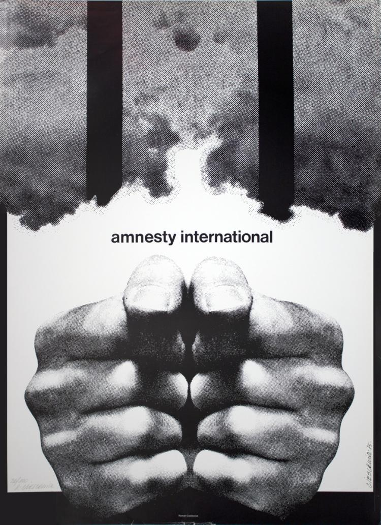 Roman Cieslewicz - Amnesty International - 1976 - SIGNED