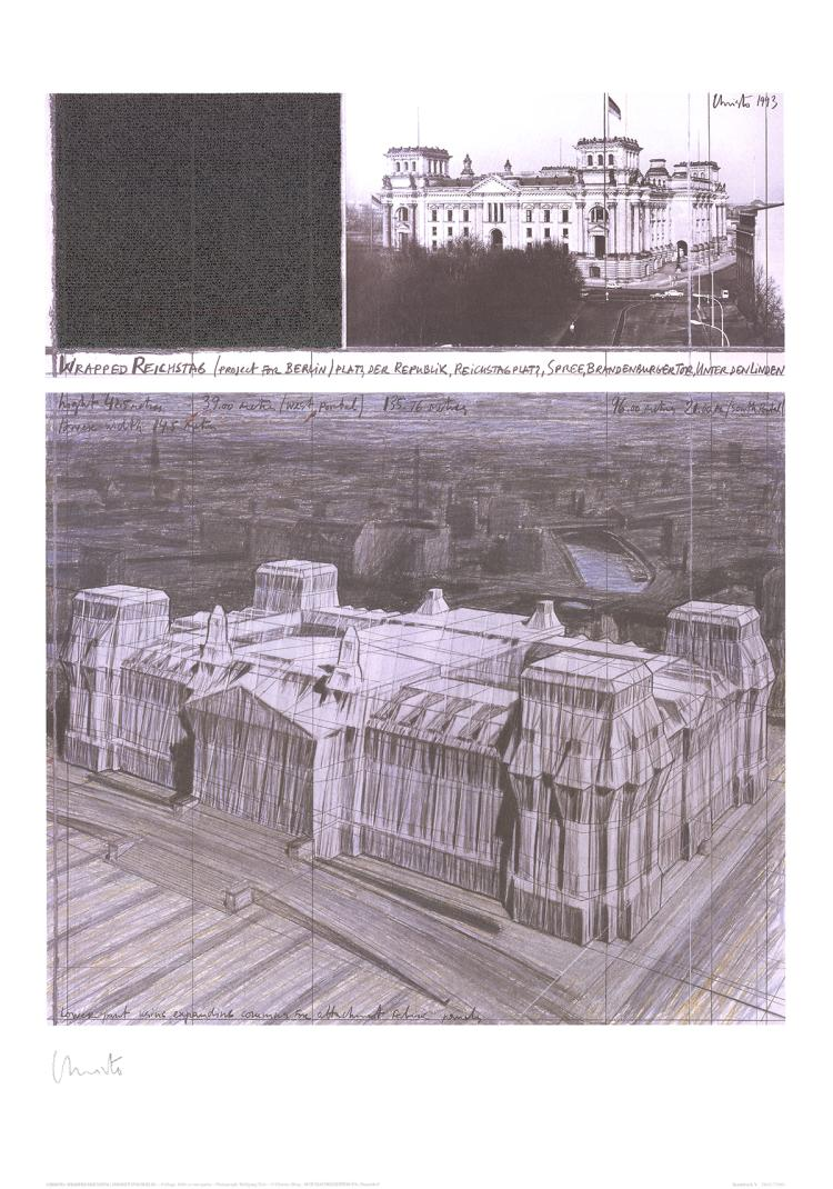 Javacheff Christo - Wrapped Reichstag, Project for Berlin, No. V - 1993 - SIGNED