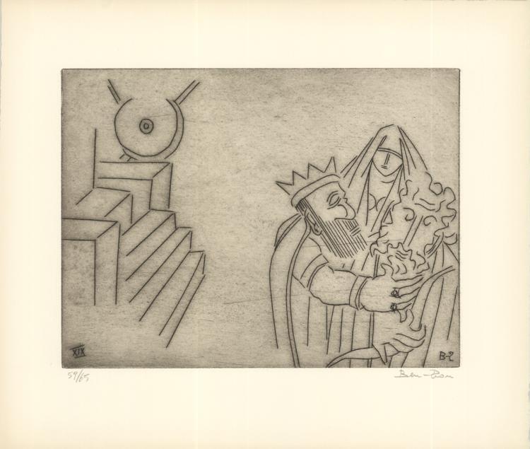 Ben-Zion - Gilgamesh Embraces Enkidu After Test of Strength (XIX) - 1966 - SIGNED