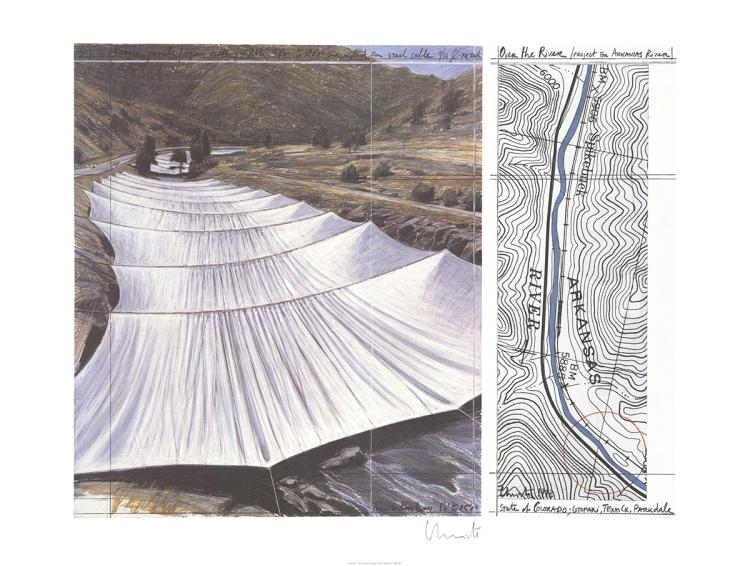 Javacheff Christo - Over the River, Project for Arkansas River - 1996 - SIGNED