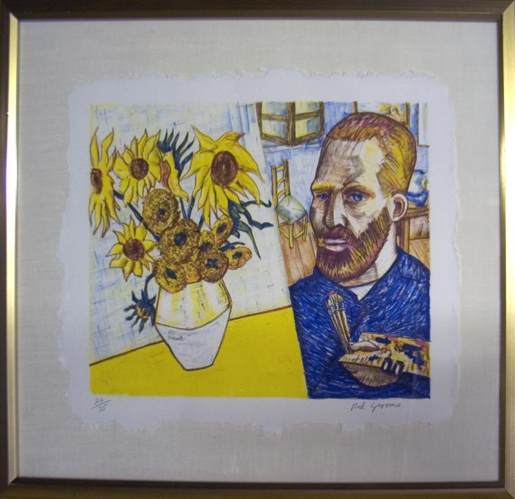 Red Grooms - van Gogh with Sunflowers - 1988