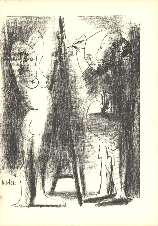 Pablo Picasso - Le Peintre et son modele (Lg) - 1964