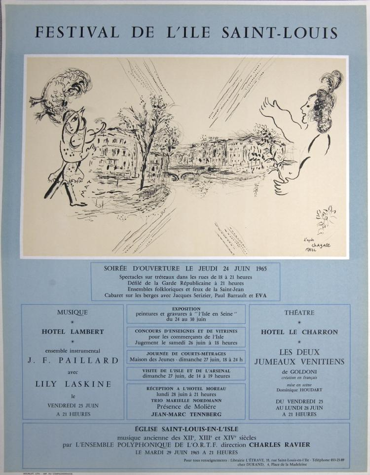 Marc Chagall - Festival De L'Ile Saint-Louis - 1965