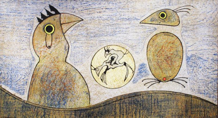 Max Ernst - Composition in ochre and blue - 1975